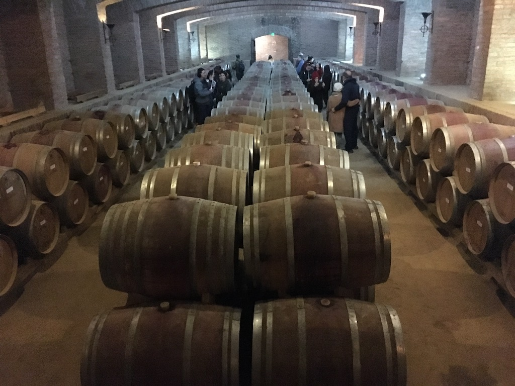 Weinkeller mit Weinfässern, Undurraga, Valle de Maipo