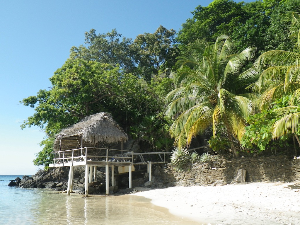 Strand mit Palmen und Meer, Haus auf Stelzen